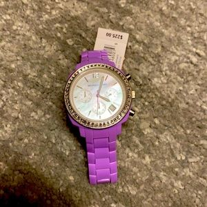 Michael Kors watch with diamonds and pearl face